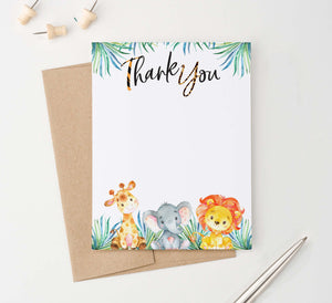 TY065 safari animals flat thank you cards with giraffe elephant and lion zoo kids