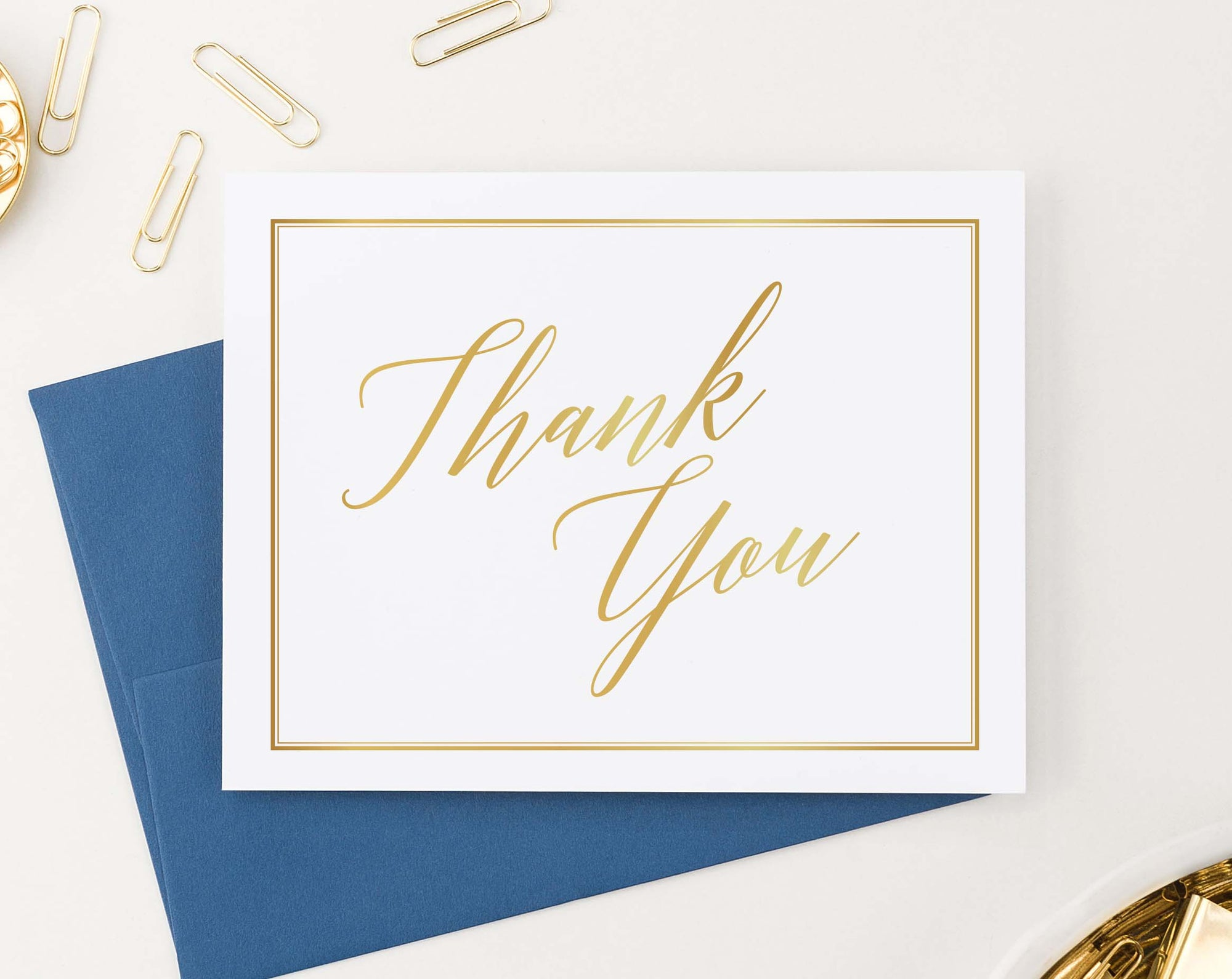 TY066 simple gold border thank you notes for adults script font classic