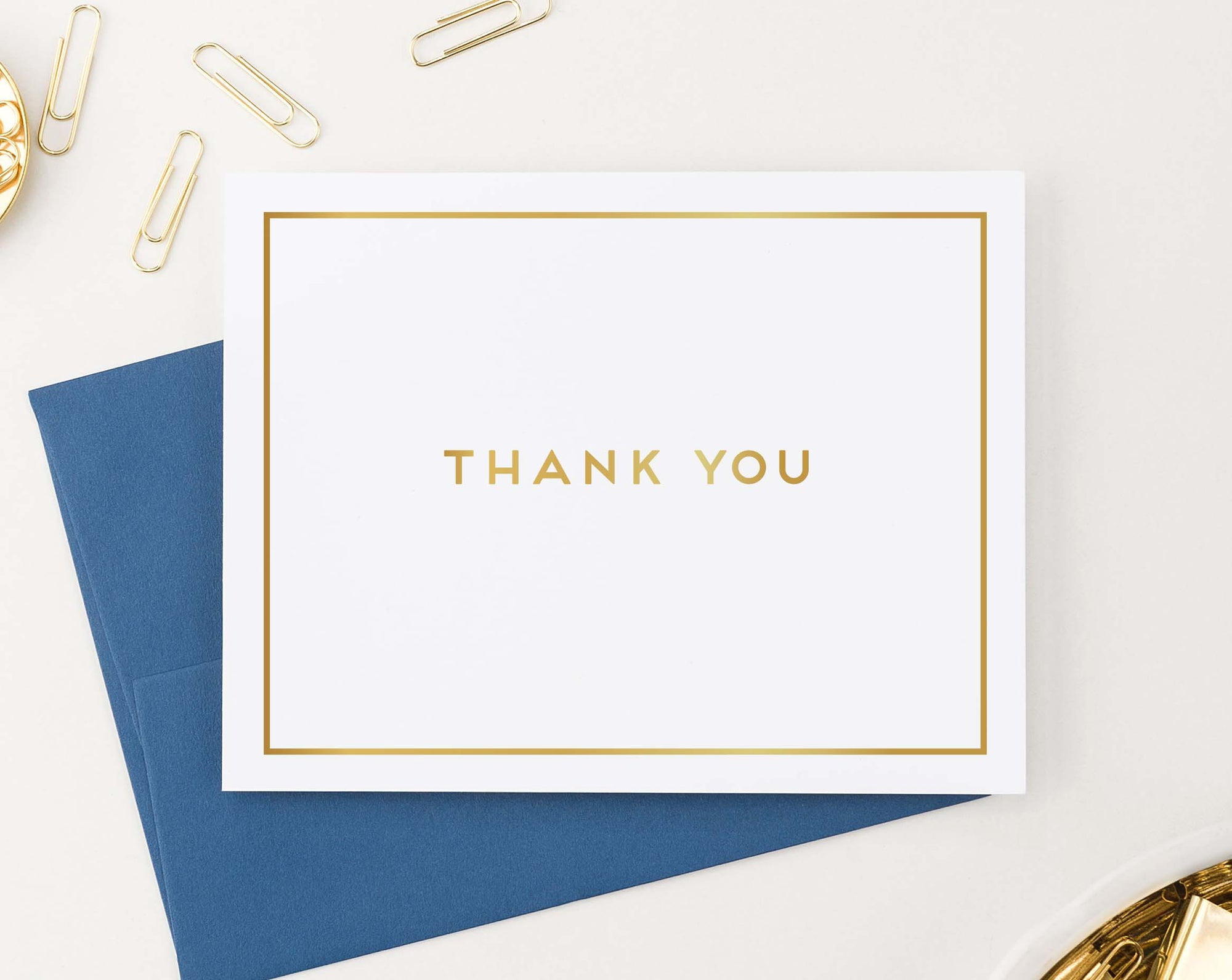 TY067 gold block font thank you cards with border simple classic folded