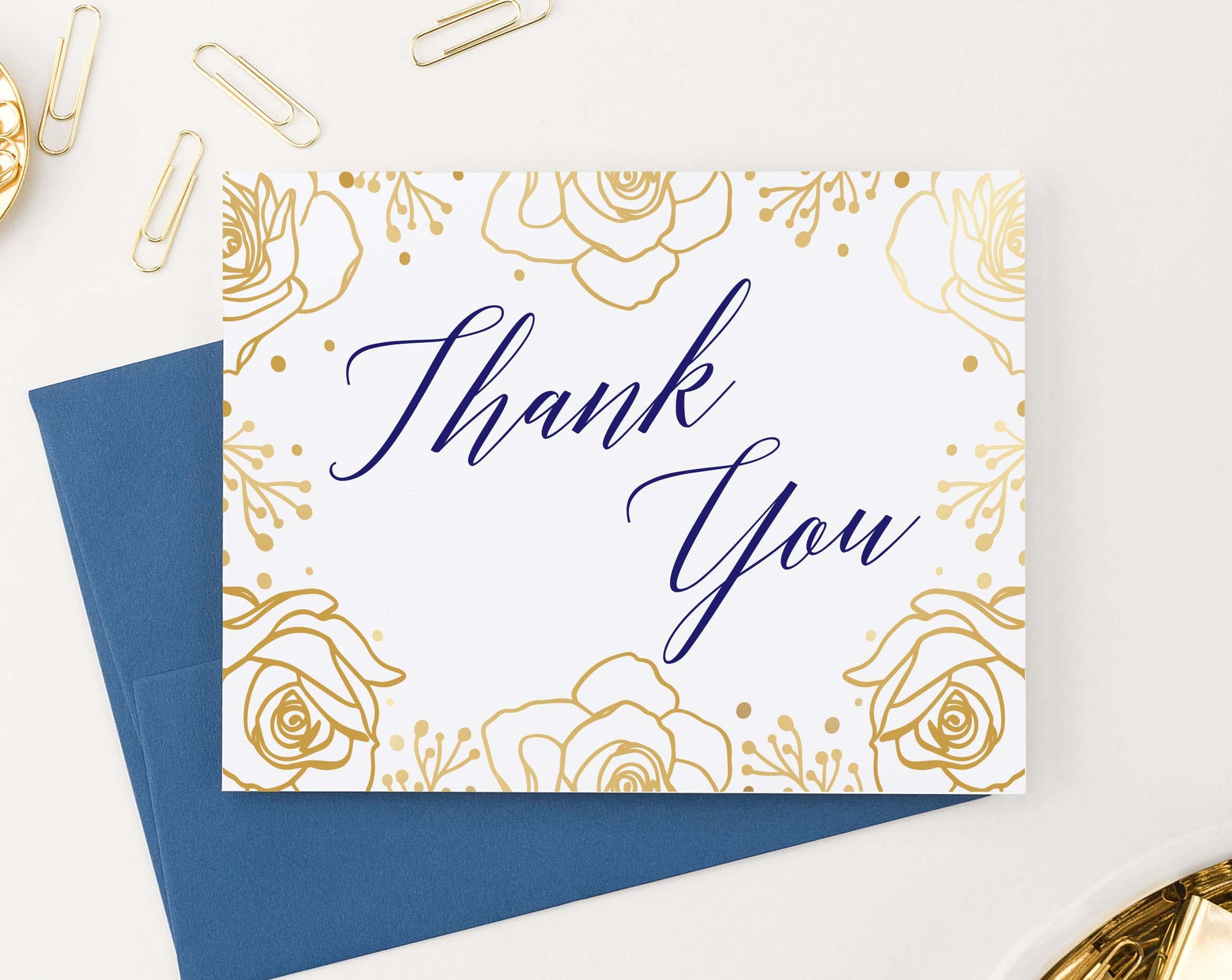 TY069 gold floral thank you cards for wedding navy script font elegant