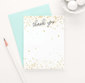 TY070 gold stars flat thank you notes for baby shower birthday kids