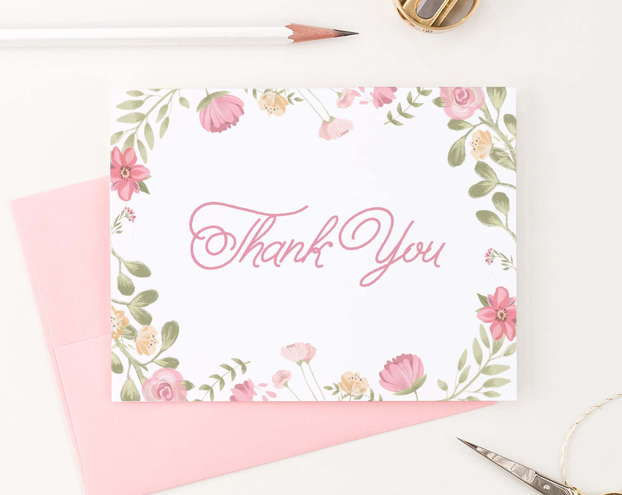 TY071 cute watercolor floral folded thank you notes elegant chic kids