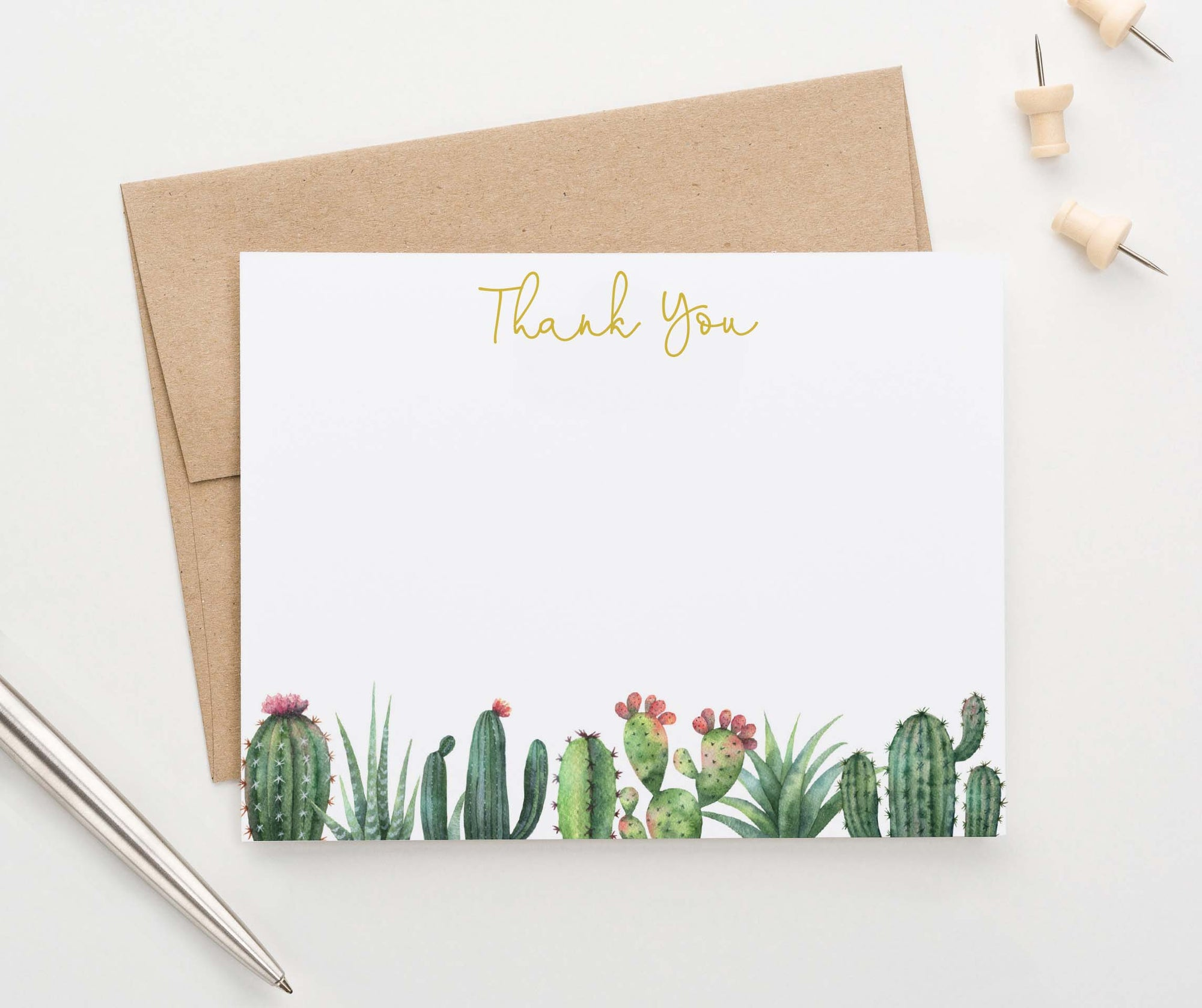 TY072 elegant flat thank you cards with cactus bottom border succulents adults
