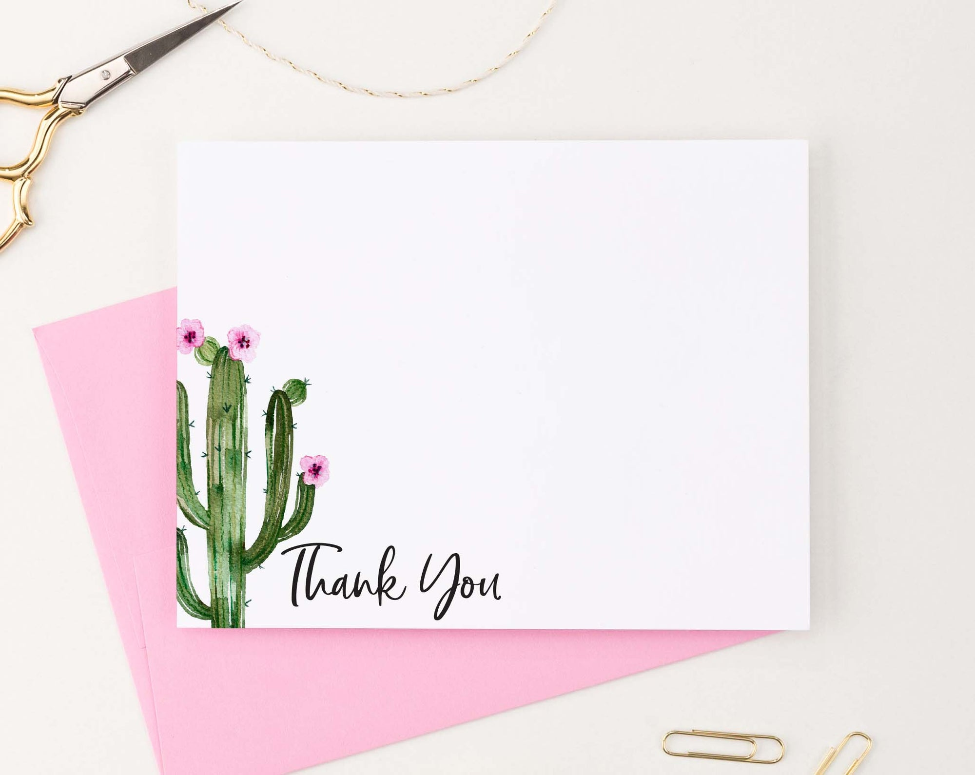 TY073 simple corner cactus thank you cards for baby shower script succulent