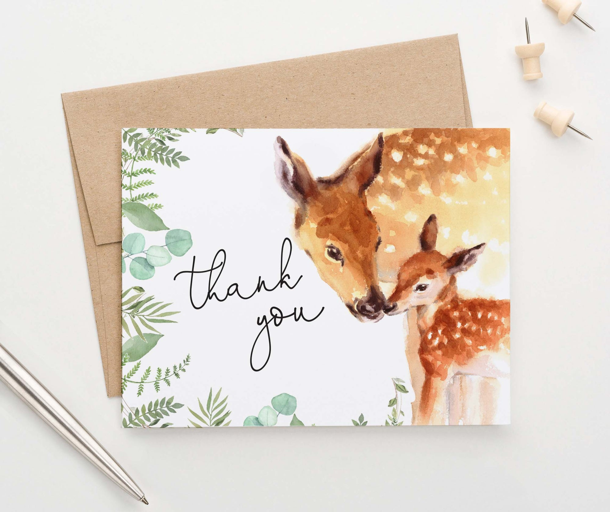 TY074 watercolor deer thank you notes for baby shower folded deers forest animal