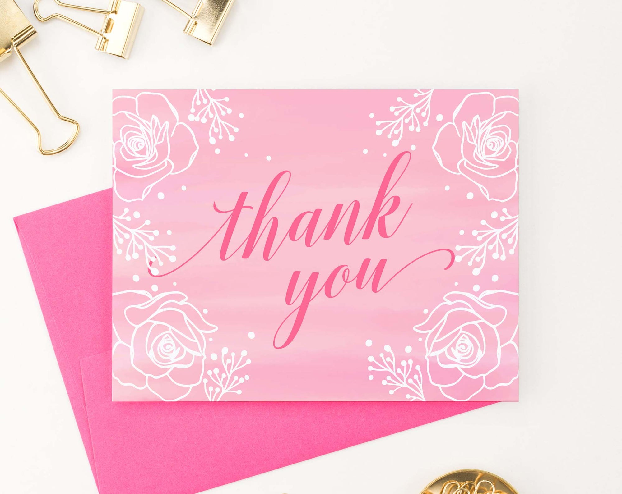 TY075 pink thank you cards with white florals cute elegant flowers thankyou