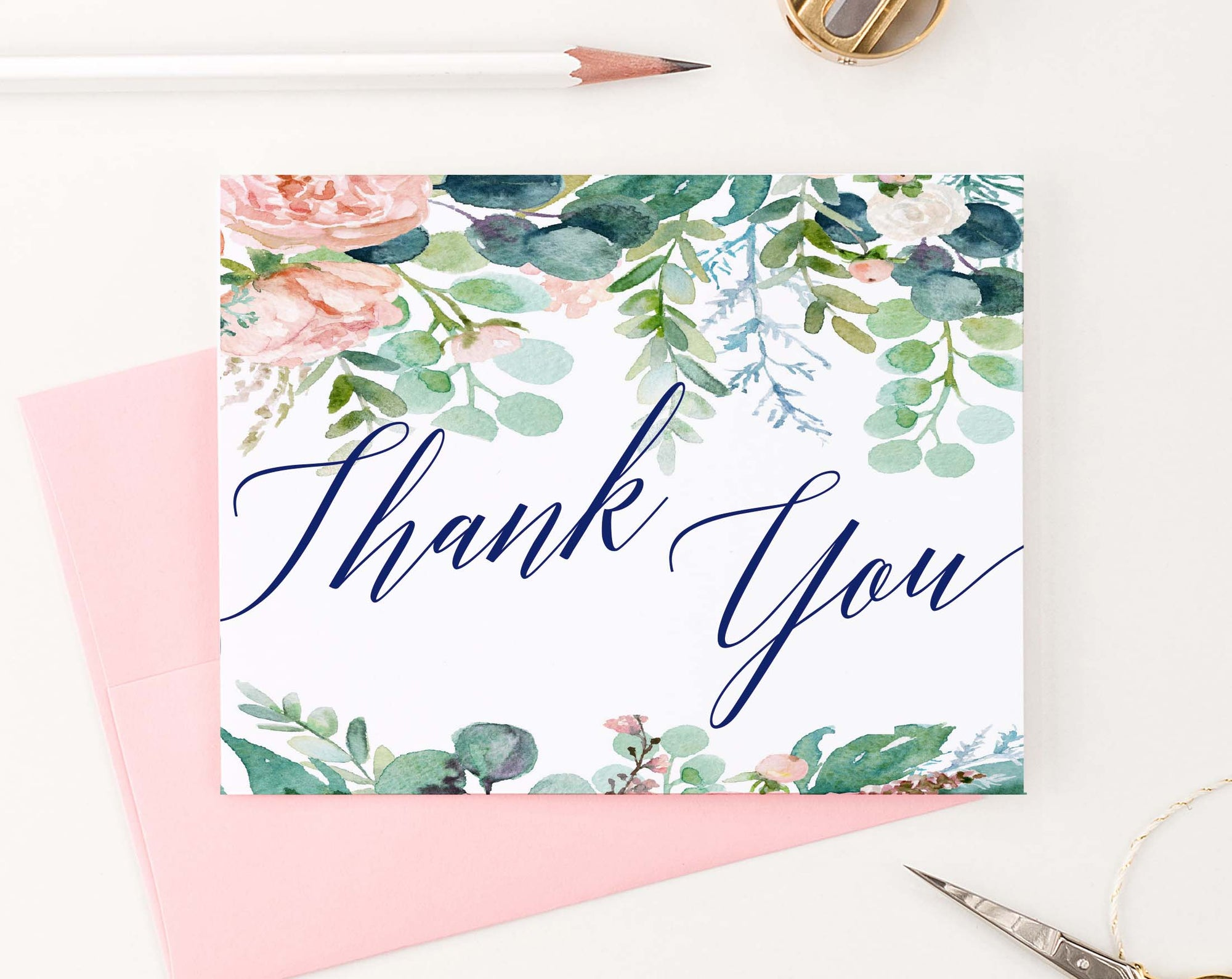 TY076 floral greenery watercolor thank you notes navy script font women
