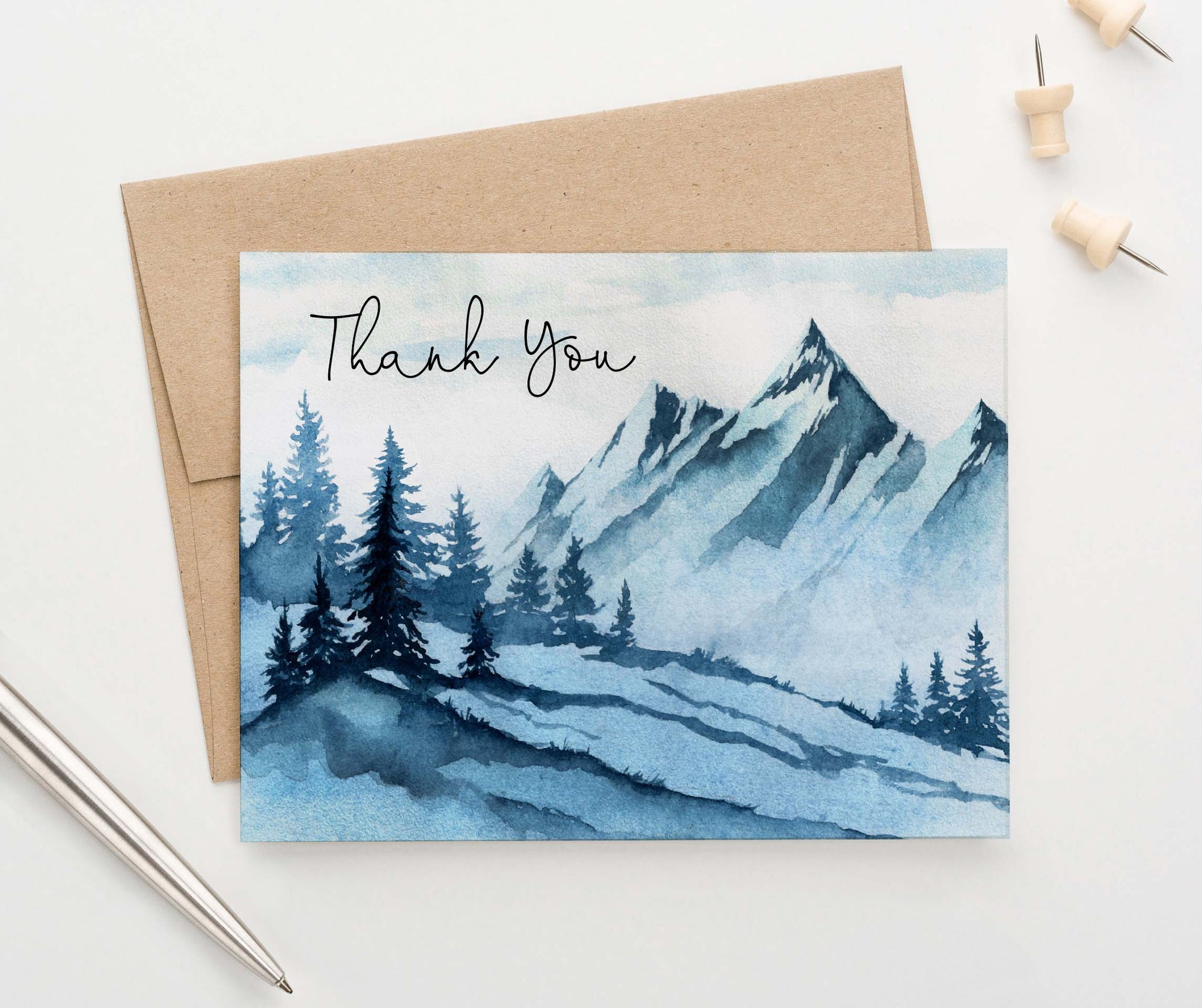 TY077 blue mountain thank you cards for adults landscape elegant