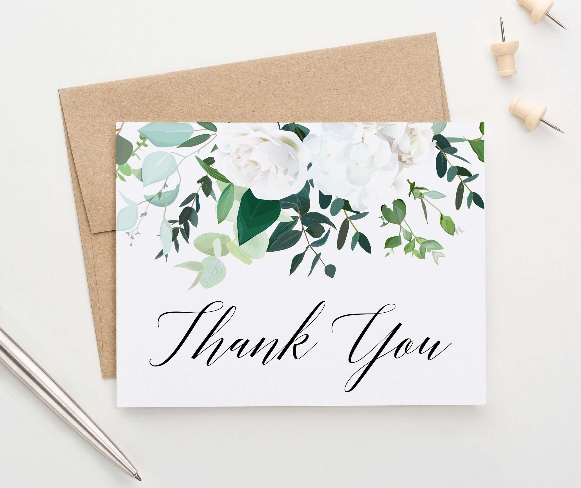 TY079 elegant white floral thank you cards for women folded wedding thankyou
