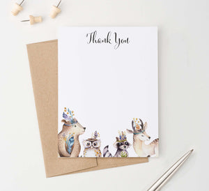 TY080 woodland animals flat thank you cards for kids forest animal baby shower