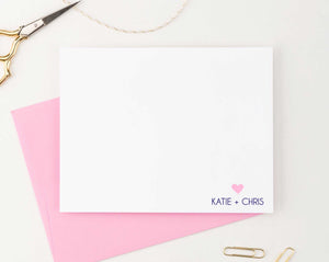 WS017 personalized names and heart wedding thank you notes cute simple modern