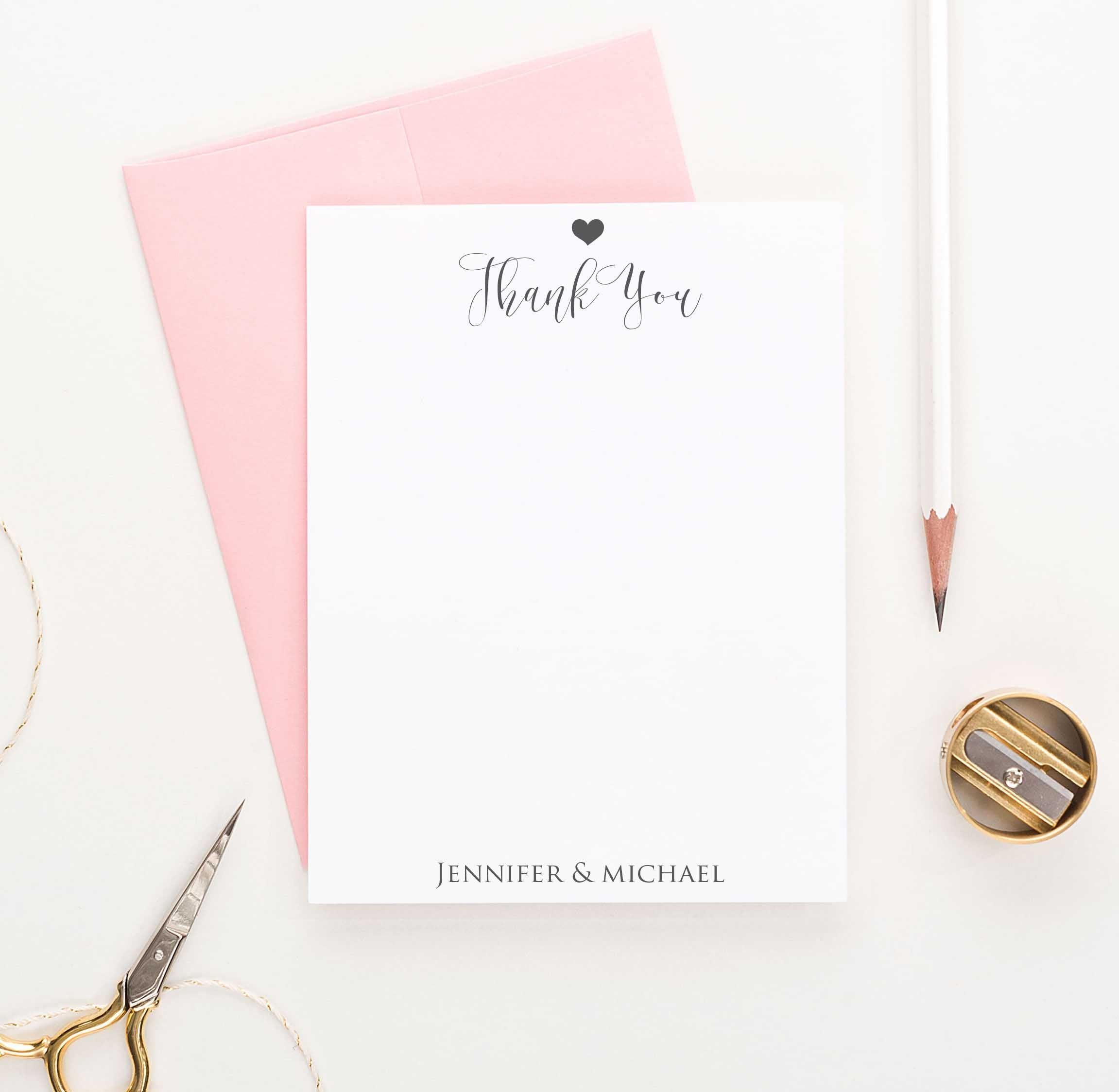 CALLIGRAPHY THANK YOU couples stationery stationary personalized notePAD letter writing paper