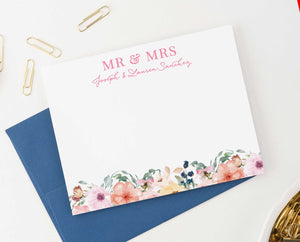 WS035 floral mr. and mrs. wedding thank you notes personalized floral modern engagement 1