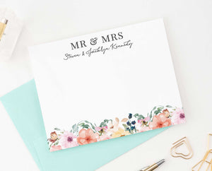 WS035 floral mr. and mrs. wedding thank you notes personalized floral modern engagement