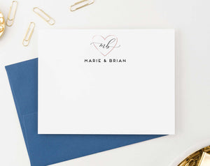 WS037 personalized rose gold heart couples stationery wedding engagement simple 2 initials monogram 1