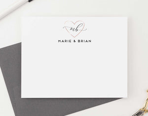 WS037 personalized rose gold heart couples stationery wedding engagement simple 2 initials monogram