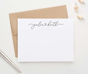 WS040 elegant 2 names and heart personalized script thank you cards classic simple