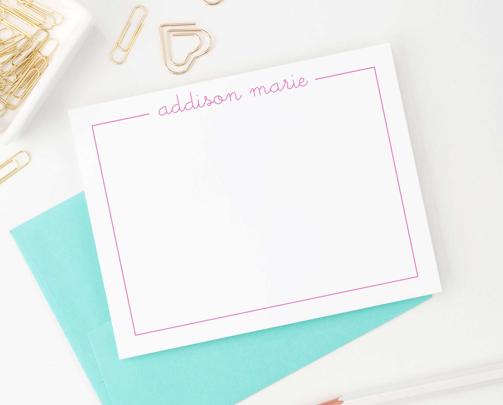 ks015 script name with border stationery personalized for kids flat notecard simple