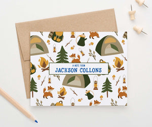 ks181 Personalized camp folded note cards for boys tent fox tree