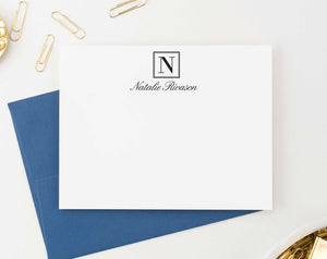 ms038 personalized 1 initial monogram notecards set men women professional business