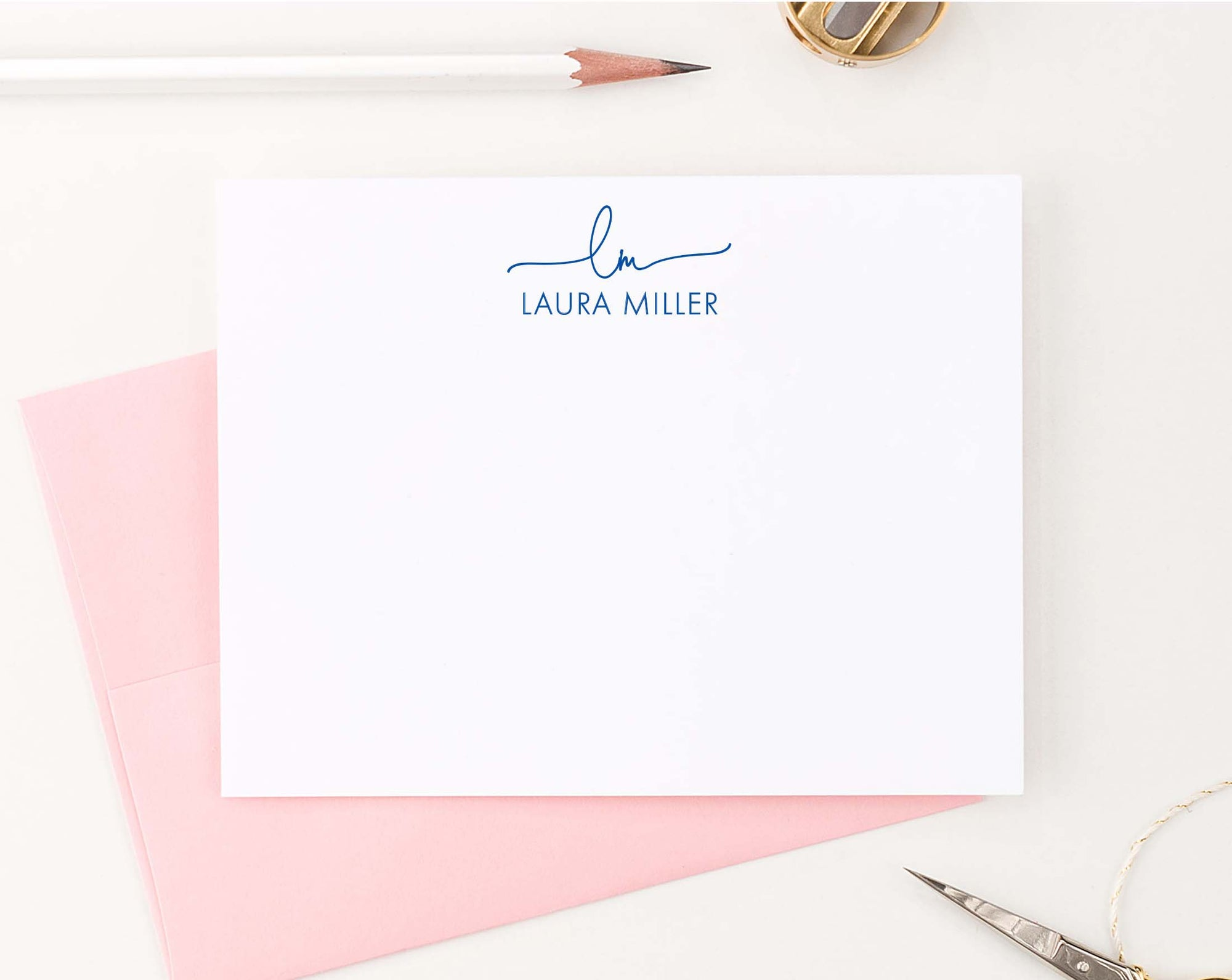 ms054 2 initial and name personalized monogramed stationery for women simple elegant