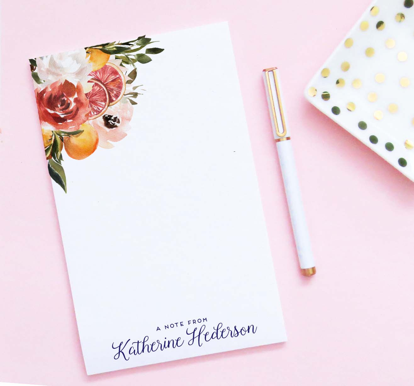np228 citrus personalized grapefruit notepad set floral fruit a note from