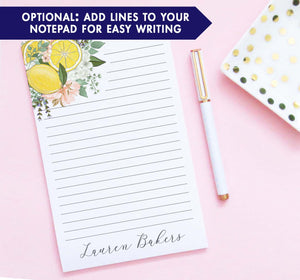 np240 top corner floral and lemons personalized notepads lemon florals flowers lined