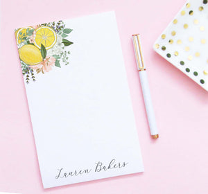 np240 top corner floral and lemons personalized notepads lemon florals flowers