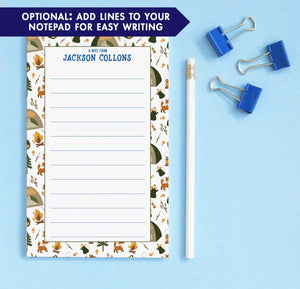 np245 personalized camp notepad for boys tent tree fox 1
