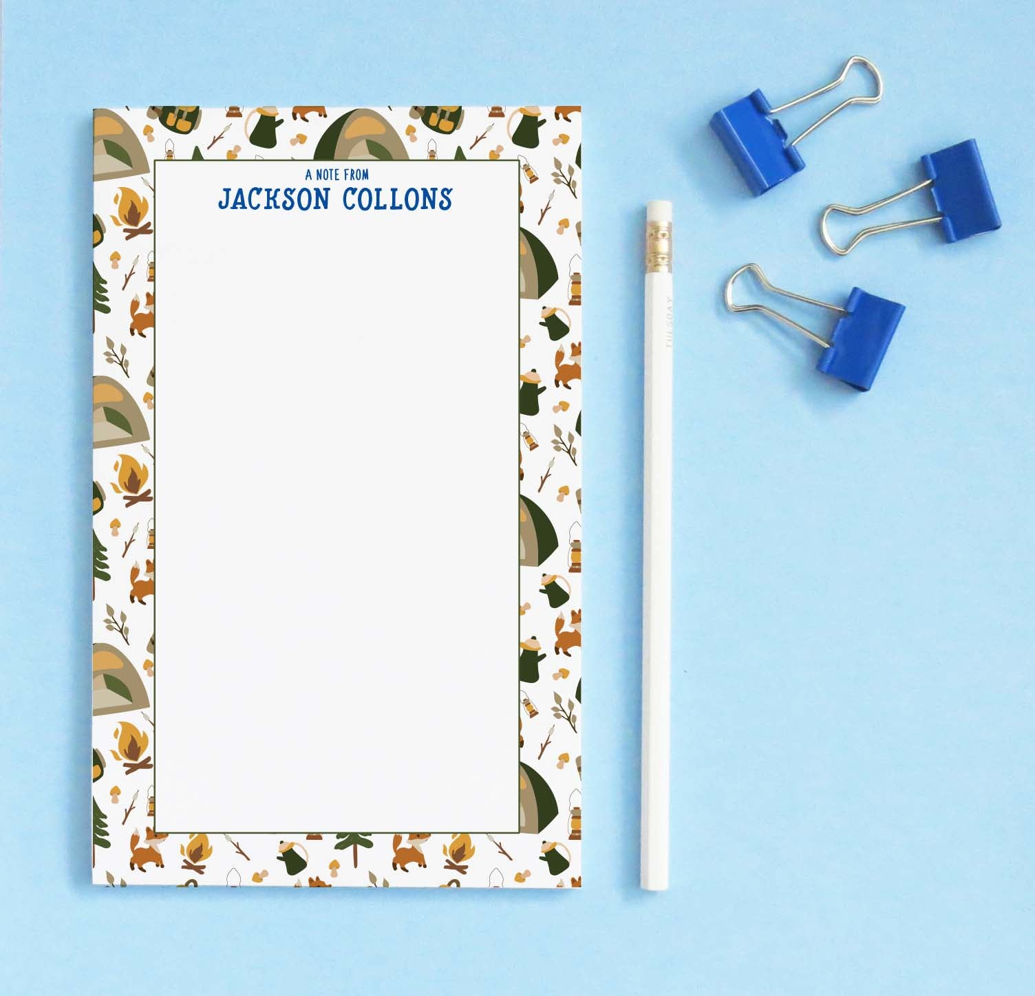 np245 personalized camp notepad for boys tent tree fox