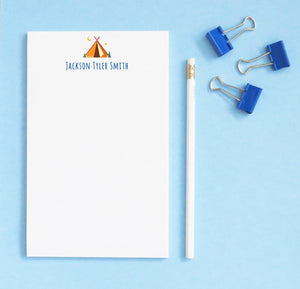 np249 teepee tent notepad personalized for boy block font