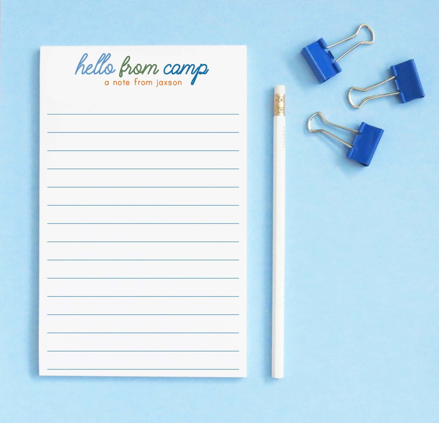np250 personalized hello from camp lined notepad for boy block font a note from