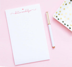 np259 cute  heart and script font notepad for girls personalized  elegant chic