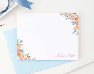 ps044 womens personalized stationery set with floral corners boho bohemian florals flowers 1
