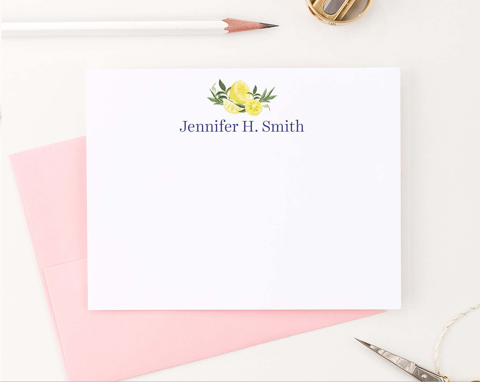 ps145 simple citrus lemons personalized note cards with block font lemon elegant women 1st photo
