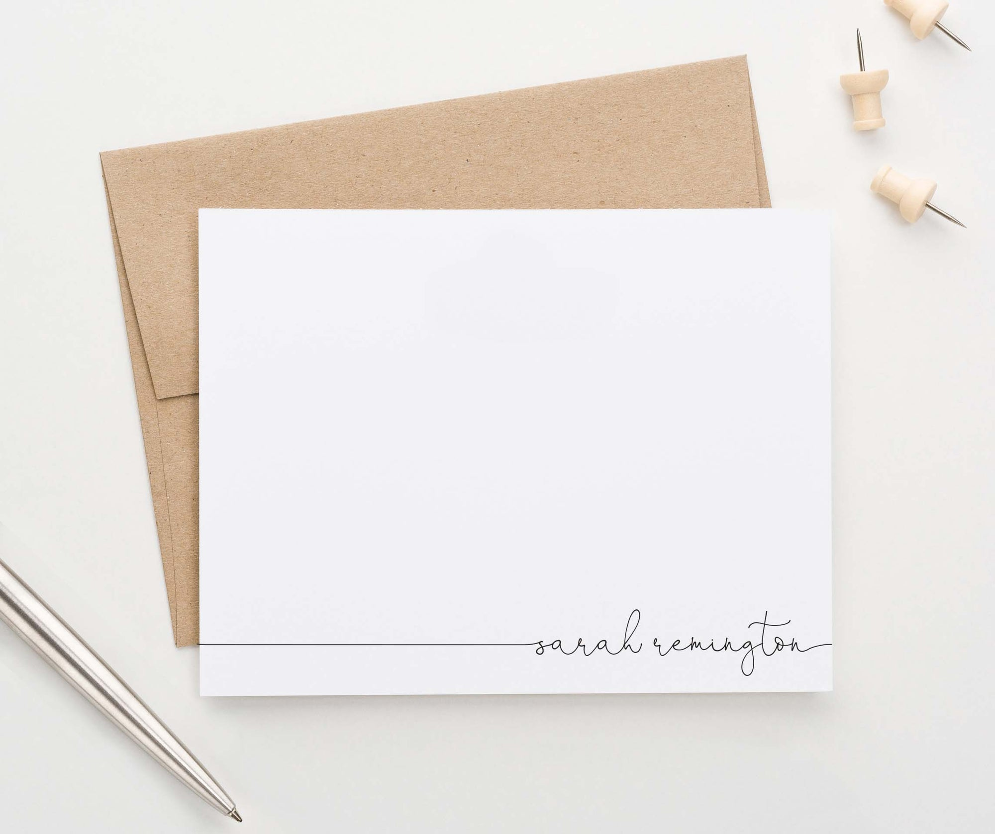 ps157 simple personalized bottom corner thank you cards elegant classy
