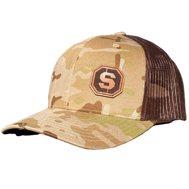 Leather Patch Hat - Tan Multi Cam