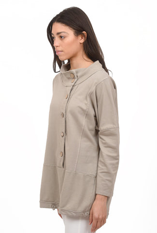 Off-Center Button Placket Sweatshirt, Taupe