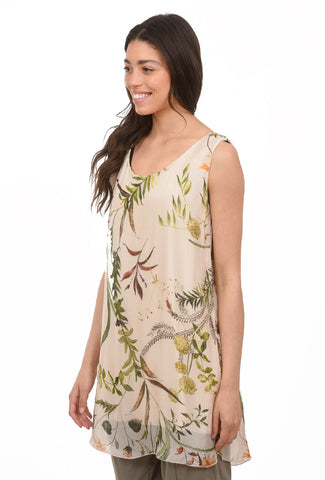 Sheer Floral Sleeveless Dress, Beige