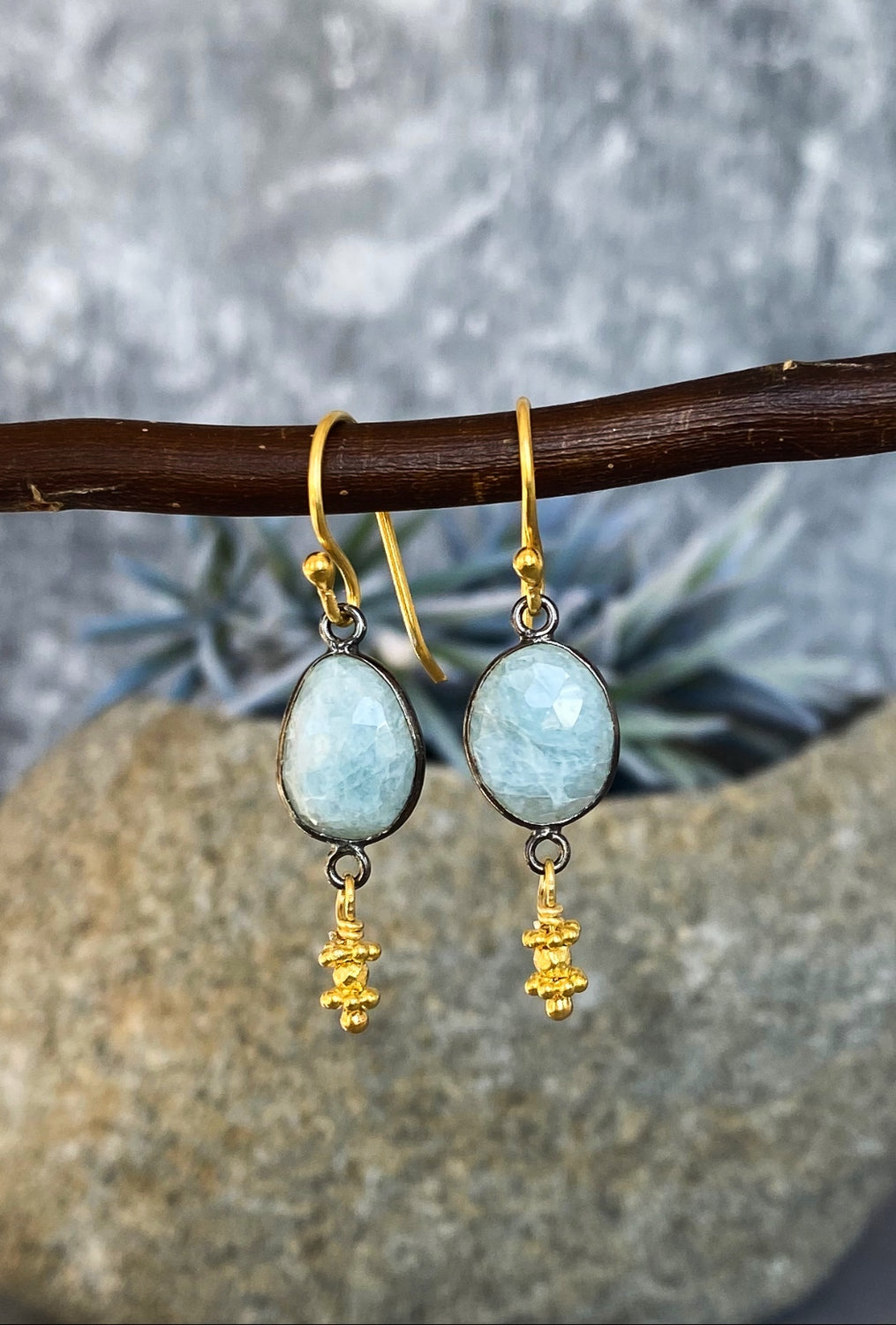 Bezel Aquamarine Earrings