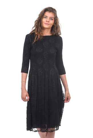 3/4-Sleeve Lace Dress, Black