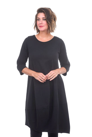 Roll-Edge French Terry Dress, Black