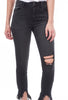 Skinny Frayed Hem Denim, Black