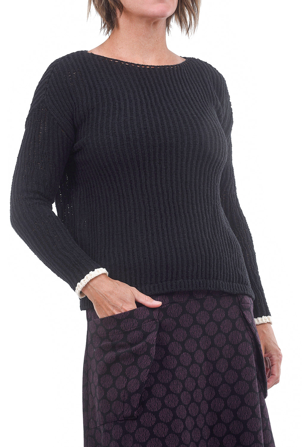 Open Stitch Sweater, Black