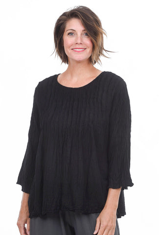 Smock-Pleated Blouse, Black
