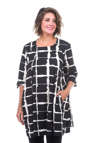 Wave Grid Cord Dress, Black/White