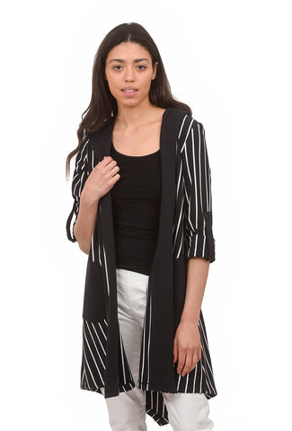 Ponte Striped Cardie, Black