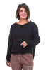 Frayed-Edge Silky Top, Black