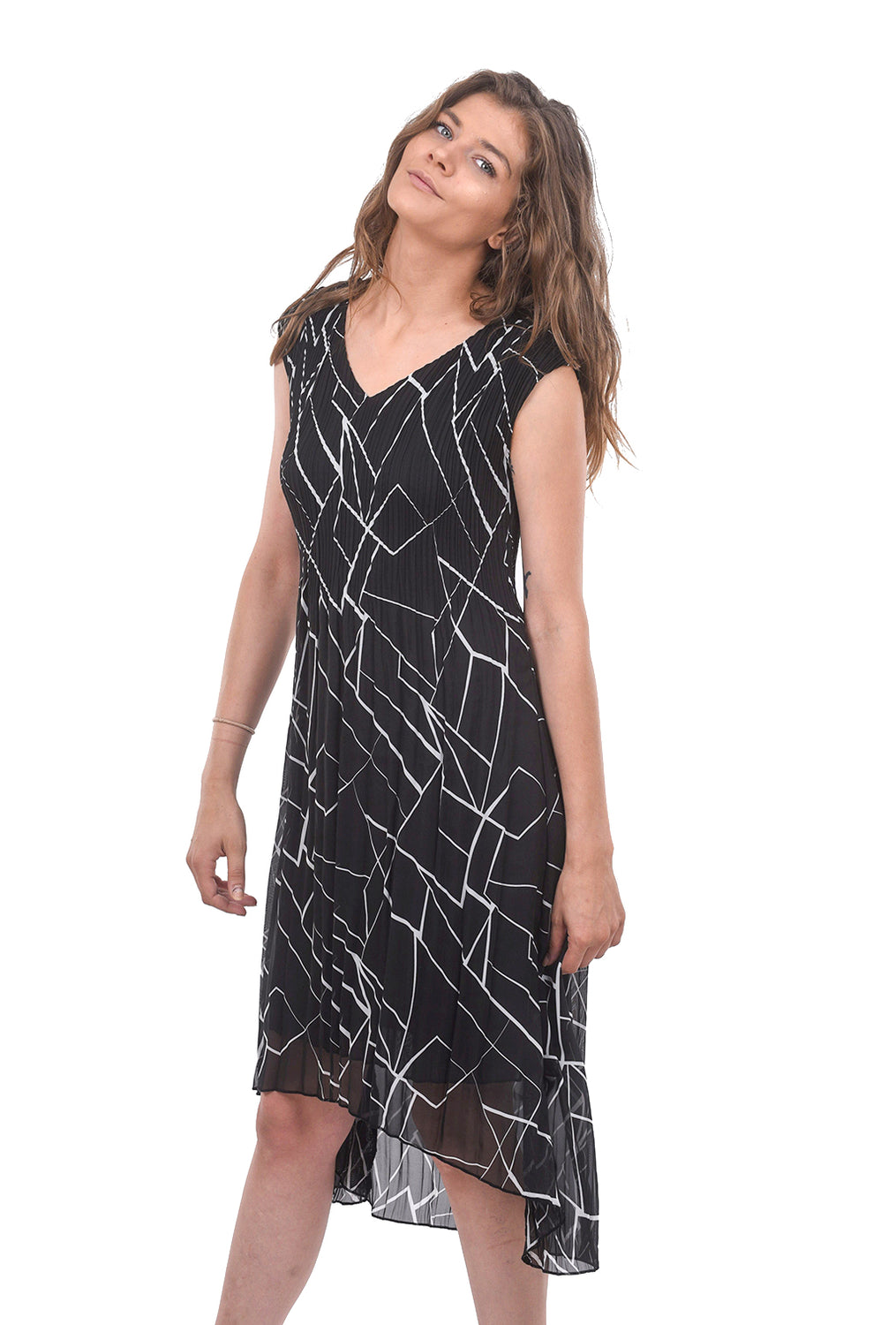 Sleeveless Hi-Low Dress, Black/Ivory