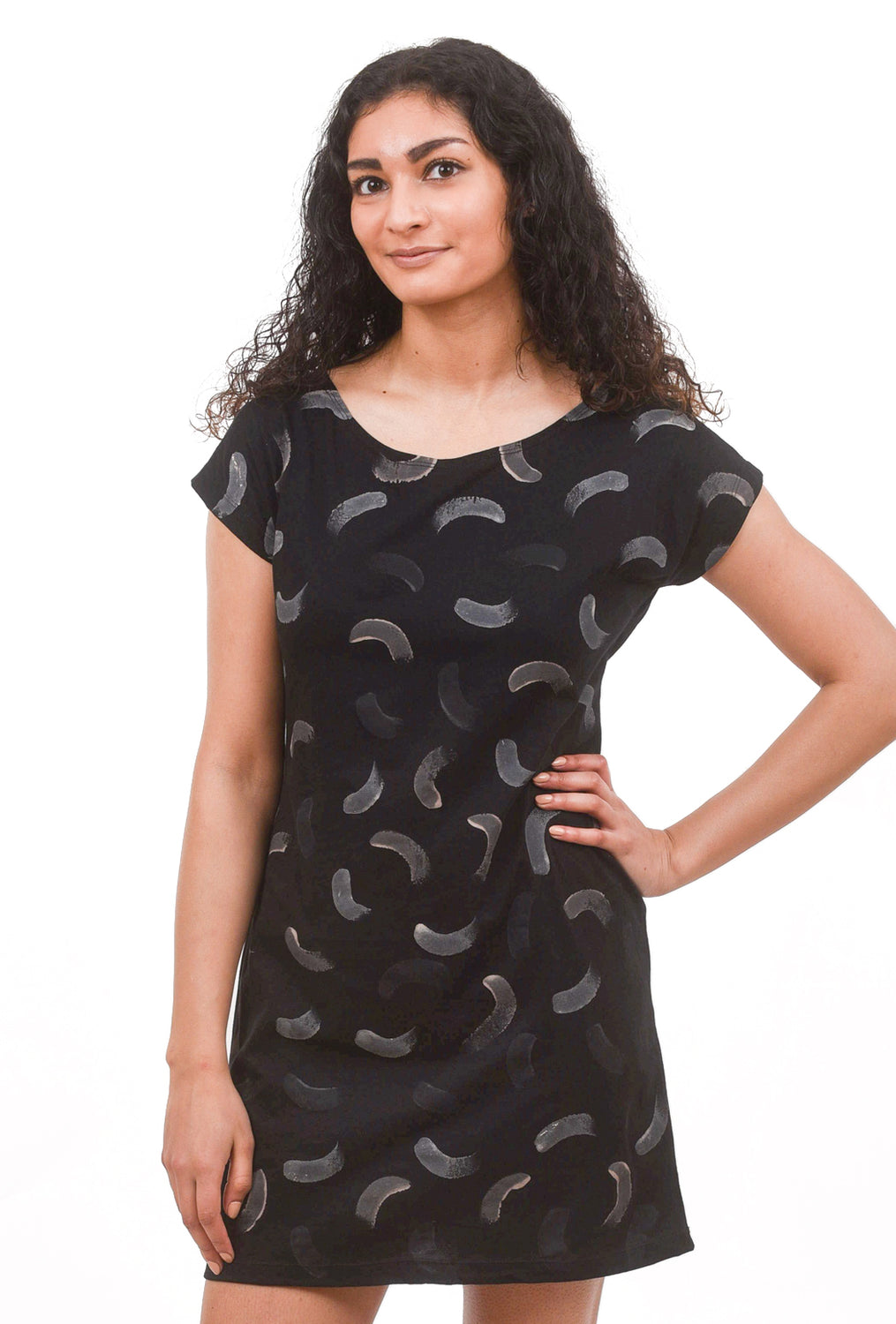 Painted T-Shirt Dress, Black